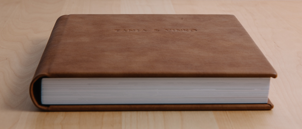Wedding photo book with leather cover